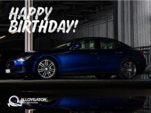 AlloyGator Happy Birthday Blue Car Gift Card Design