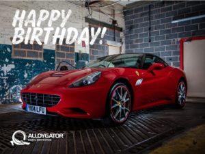 AlloyGator Happy Birthday Red Ferrari Gift Card Design