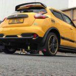 Yellow AlloyGator Wheel and Tyre Protection on Yellow Nissan Juke