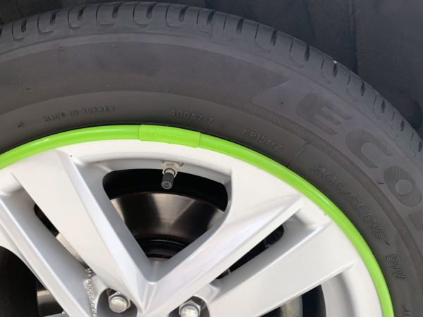 Green AlloyGator Wheel and Tyre Protection on Silver Alloy Wheel