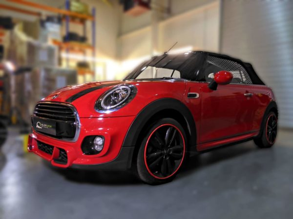 Red AlloyGator Wheel and Tyre Protection on Red Mini