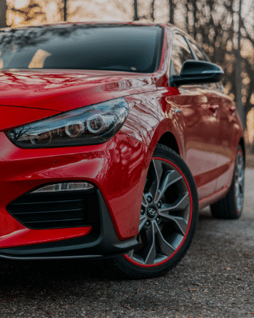 Red AlloyGator Wheel and Tyre Protection on Red Hyundai